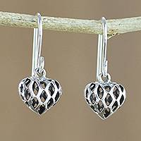 Sterling silver dangle earrings, 'Just Love' - Openwork Sterling Silver Heart Earrings from Thailand