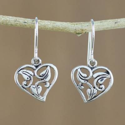 Sterling silver dangle earrings, 'Natural Lover' - Leaf Motif Sterling Silver Heart Earrings from Thailand