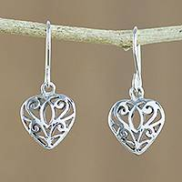 Sterling silver dangle earrings, 'Heartfelt Beauty' - Artisan Crafted Sterling Silver Heart Earrings from Thailand