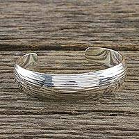 Sterling silver cuff bracelet, 'Relaxing Day' - Scratch Motif Sterling Silver Cuff Bracelet from Thailand