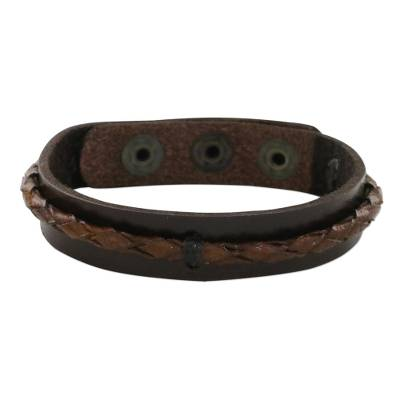 Leather wristband bracelet, 'Tenacious Nature in Brown' - Handmade Leather Wristband Bracelet in Brown from Thailand
