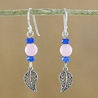 Rose quartz and quartz beaded dangle earrings, 'Candy Forest' - Rose Quartz and Quartz Leaf Earrings from Thailand