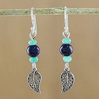 Lapis lazuli and quartz beaded dangle earrings, 'Candy Forest' - Lapis Lazuli and Quartz Leaf Earrings from Thailand