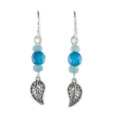 Aquamarine and Amazonite Leaf Earrings from Thailand