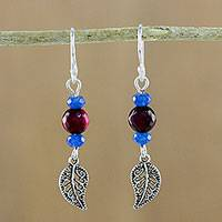 Chalcedony and quartz beaded dangle earrings, 'Candy Forest' - Chalcedony and Quartz Leaf Earrings from Thailand