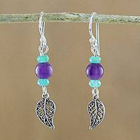 Amethyst and quartz beaded dangle earrings, 'Candy Forest' - Amethyst and Quartz Leaf Earrings from Thailand
