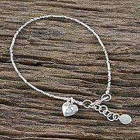 Silver and sterling silver beaded bracelet, 'My Little Heart' - Karen Silver Beaded Heart Bracelet from Thailand