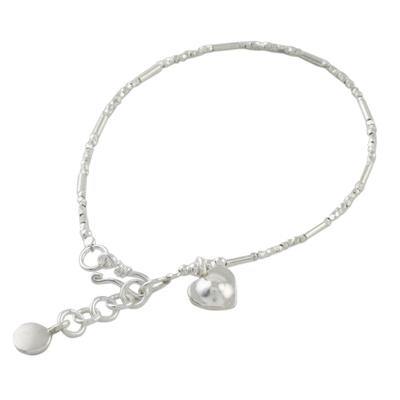 Silver beaded bracelet, 'My Little Heart' - Karen Silver Beaded Heart Bracelet from Thailand