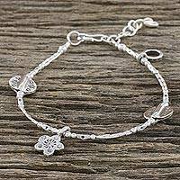 Silver and sterling silver beaded bracelet, 'Home Garden' - Karen Silver Beaded Charm Bracelet from Thailand