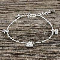 Silver beaded charm bracelet, 'Dear Love' - Karen Silver Beaded Charm Bracelet from Thailand