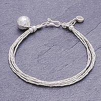 Silver beaded bracelet, 'Singing Karen' - Karen Silver Beaded Bracelet with Bell Charm from Thailand