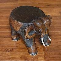 Wood stool, 'Elephant Relaxation in Brown' (11.5 inch) - Wood Elephant Stool in Brown from Thailand (11.5 Inch)