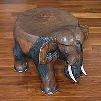 Wood stool, 'Elephant Relaxation in Brown' (15 in.) - Wood Elephant Stool in Brown from Thailand (15 in.)