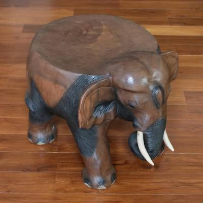 Wood stool, 'Elephant Relaxation in Brown' (15 inch) - Wood Elephant Stool in Brown from Thailand (15 Inch)