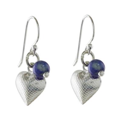 Lapis Lazuli Heart Dangle Earrings from Thailand