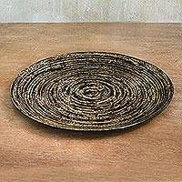 Lacquered bamboo decorative plate, 'Return to Nature' - Lacquered Bamboo Decorative Plate in Brown from Thailand