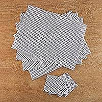 Cotton placemats and coasters, 'Modern Picnic' (set for 4) - Ivory and Blue Dot Cotton Placemats and Coasters (Set for 4)