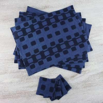 Cotton placemats and coasters, 'Tracks' (set for 4) - Blue Squares Cotton Placemats and Coasters (Set for 4)