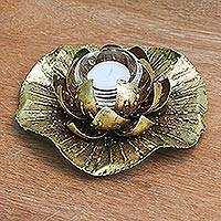 Steel tealight candle holder, 'Gilded Lotus' - Gold Painted Steel Lotus Flower Tealight Holder