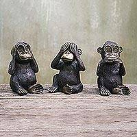 Brass figurines, 'Monkey Lesson' (set of 3) - Hand Cast Three Wise Monkeys Brass Figurines (Set of 3)