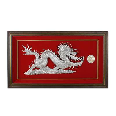 Aluminum Relief Panel of a Dragon (Right-Facing)
