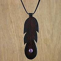 Amethyst and leather pendant necklace, 'Feather Spirit' - Brown Leather Feather Pendant Necklace with Amethyst