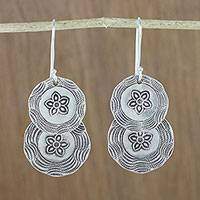 Silver dangle earrings, 'Flower Coins' - Karen Hill Tribe Silver Floral Boho Dangle Earrings
