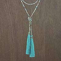 Glass beaded lariat necklace, 'Festive Holiday in Blue-Green' - Colorful Glass Beaded Lariat Necklace from Thailand
