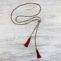 Glass beaded lariat necklace, 'Festive Holiday in Red' - Multicolored Glass Beaded Lariat Necklace from Thailand