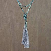 Agate beaded lariat necklace, 'Festive Holiday in Grey' - Agate Beaded Lariat Necklace in Grey from Thailand