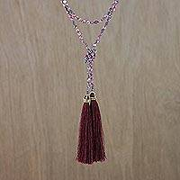 Agate beaded lariat necklace, 'Festive Holiday in Dark Red' - Agate Beaded Lariat Necklace in Dark Red from Thailand