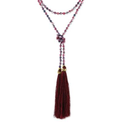 Agate Beaded Lariat Necklace in Dark Red from Thailand