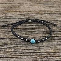 Silver beaded pendant bracelet, 'Single Bead' - Silver and Recon Turquoise Bracelet from Thailand
