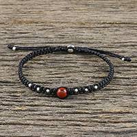 Jasper beaded macrame bracelet, 'Single Bead' - Jasper Beaded Macrame Bracelet from Thailand