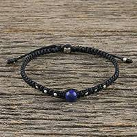 Lapis lazuli beaded macrame bracelet, 'Single Bead' - Lapis Lazuli Beaded Macrame Bracelet from Thailand