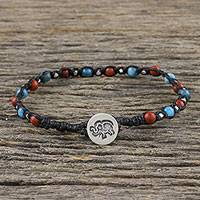 Jasper and apatite beaded bracelet, 'Petite Elephant' - Jasper and Apatite Beaded Elephant Bracelet from Thailand