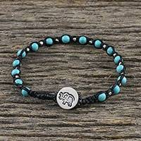 Silver beaded macrame bracelet, 'Petite Elephant' - Silver Beaded Elephant Bracelet from Thailand