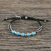 Silver beaded bracelet, 'Arctic Cross' - Silver and Recon Turquoise Beaded Bracelet from Thailand