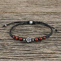 Jasper beaded pendant bracelet, 'Calm and Tranquil' - Floral Red Jasper Beaded Pendant Bracelet from Thailand