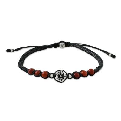 Jasper beaded macrame bracelet, 'Calm and Tranquil' - Floral Red Jasper Macrame Pendant Bracelet from Thailand