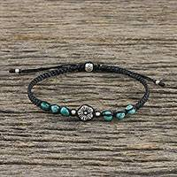 Silver beaded pendant bracelet, 'Floral Sea' - Silver and Recon Turquoise Floral Bracelet from Thailand