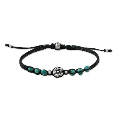 Silver beaded pendant bracelet, 'Calm and Tranquil' - Silver Beaded Floral Bracelet from Thailand