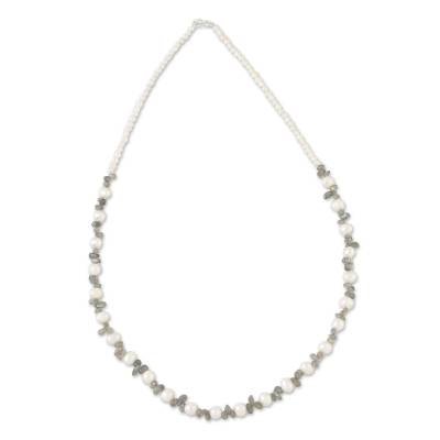 Cultured pearl and labradorite beaded necklace, 'Sun Rays Through Clouds' - Labradorite and Cultured Freshwater Pearl Beaded Necklace