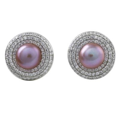 Rhodium plated cultured pearl button earrings, 'Ocean Rose' - Rose Cultured Pearl and Rhodium-Plated Brass Button Earrings