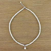 Cultured pearl pendant necklace, 'White Halo' - Cultured Pearl and Sterling Silver Flower Pendant Necklace