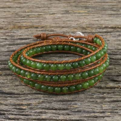 Quartz beaded wrap bracelet, 'Spring Forest' - Green Quartz Beaded Wrap Bracelet from Thailand