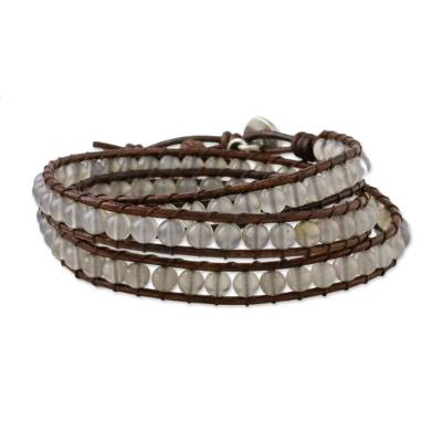 Chalcedony and Leather Beaded Wrap Bracelet from Thailand
