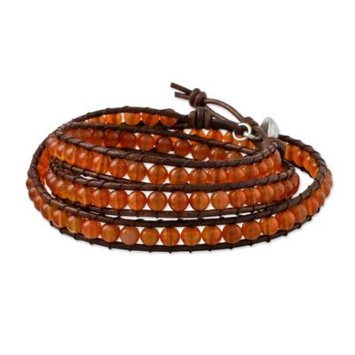 Carnelian beaded wrap bracelet, 'Spring Fire' - Carnelian and Leather Beaded Wrap Bracelet from Thailand