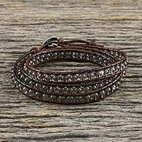 Smoky quartz beaded wrap bracelet, 'Spring Smoke' - Smoky Quartz and Leather Beaded Wrap Bracelet from Thailand