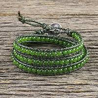 Quartz beaded wrap bracelet, 'Spring Meadow' - Green Quartz and Leather Beaded Wrap Bracelet from Thailand
